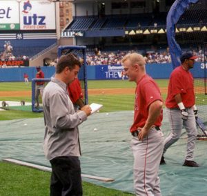 Joe Haakenson and David Eckstein at Yankee Stadium.